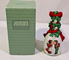 Avon 1989 Porcelain Christmas Bell Under the Mistletoe