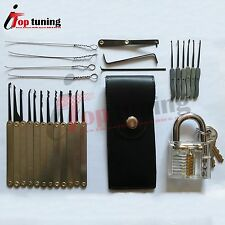 27 Hook Pick Set Unlocking Key Extractor Cutaway Practice With Tool Bag Padlock