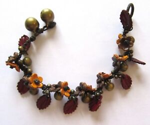 """Leather Bracelet -flowers- toggle- yellow brown -bells- leaves  7.5"""" or 8.5"""""""