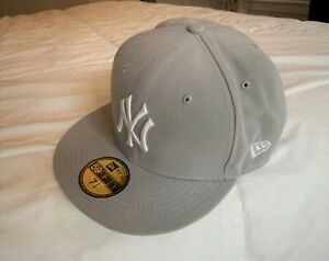 New York Yankees MLB Authentic New Era 59FIFTY Fitted Cap HATGREY WHITE 7 1/8