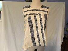 Rachel Comey Sleeveless Blanket Top w/ Stripes & Finge
