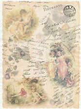 Rice Paper Decoupage Scrapbook Sheet Craft  Angels Postcard