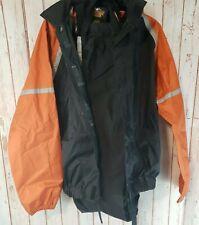 Harley Davidson Mens Nylon Riding Sm Black Orange Rain Suit Pants Jacket Set