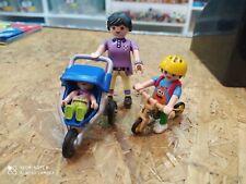 Mamá, Carrito con bebé y niño en bicicleta Playmobil