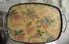 SUPERBE ANCIEN GRAND PLATEAU OVALE ART DÉCO FEUILLAGE ET FLEURS 47,5 x 34,4