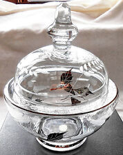PARTY LITE PEDESTAL COVERED CANDY DISH W/ACID ETCHED & GOLD LEAVES