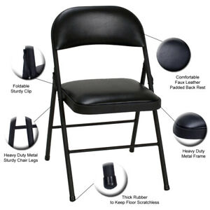 Set of 2/4 Office Computer Folding Strong Metal Frame Faux Leather Padded Chair