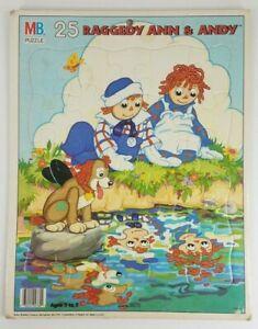 "VTG Milton Bradley Raggedy Ann & Andy 25 piece 11.5x14.75""  tray puzzle 1988 USA"