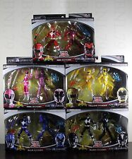 "Complete Set THEN & NOW Power Rangers 5"" Red Pink Black Blue Yellow Ranger Movie"