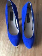 Ladies Cute Blue Leather High Heel Shoes By Forever New Size 38 Aus 7 - CHEAP