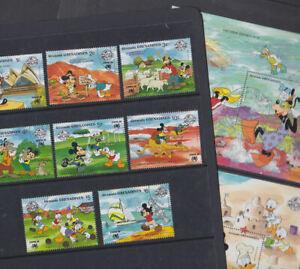 Grenada Grenadines 1988 Used FU Full Set Minisheets Disney Mickey Mouse Beach
