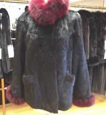 Black Corduroy Cut Nutria Fur Bolero Jacket with Plum Fox Collar & Cuffs -SZ M