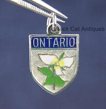 Original Vintage Enamel & Sterling Silver Ontario Trillium/Shield Charm 1.9 G