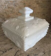 """Imperial Glass Milk Glass Grape Vine Footed Candy Dish with Lid Square 4.5"""""""