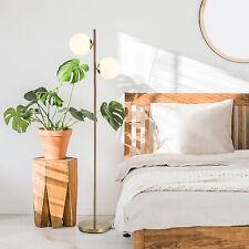 HOMCOM Floor Lamp w/ 2pcs Glass Lamp Shade Modern Decorative Lamp, White