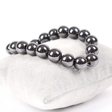 Unisex Natural Hematite Round Beads Stone Stretch Charm Bangle Bracelet Jewelry