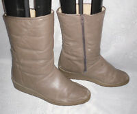 WOMENS BAMA LAMS BROWN ZIP LEATHER WEDGE MID CALF BOOTS SIZE:4.5/37.5(WB138)
