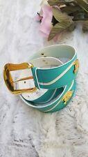 Escada Turquoise Belt White Wave Gold Fish Embellishments Size 38 Belt
