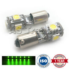 2x Xenon VERDE BAX9S H6W 434 finestra laterale Upgrade 5 SMD LED Lampadine Canbus
