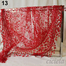NEW Rose Floral Knit  Hollow Scarf Shawl Wrap Mantilla Triangle Lace Tassel HOT