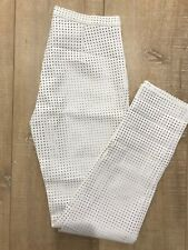CARLA ZAMPATTI PERFORATED FAUX LEATHER WHITE PANTS SIZE 6