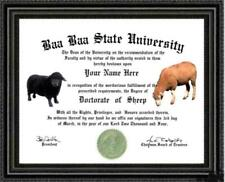 Sheep Lover's Doctorate Diploma / Degree Custom made & Designed for you Unique
