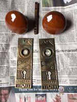 Set antique marble door knobs With Brass Plates