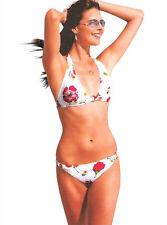 Dos piezas traje de Baño de Bikini Acolchado Floral Blanco Anillos de metal característica de tamaño 12-14