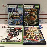 Lot of 4 Xbox 360 Games Sonic, Kinectimals, Kinect Adventures, NHL 2K9 Complete