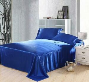 King Size Royal Blue Satin King Fitted Sheets and Pillow Case Set 125GSM