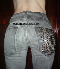 Current Elliot stretch skinny jeans 23-0 Bleach out night w/ studs gray destroy