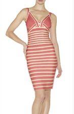 Herve Leger Nicole Deep Sea Coral/Nude Stripe Dress XS RRP £1200