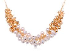 Golden   Faux Pearl Beads and Baubles Fashion Statement New Necklace