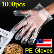 1000pcs Clear Transparent Poly PE Gloves Food Handling Service Disposable Safety