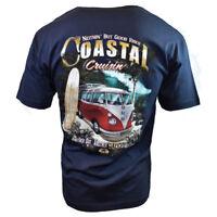 Mens Volkswagen VW Bus Surfing Beach Cruisin Graphic Print T Shirt, Navy Blue