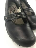 Merrell Size 9.5 Plaza Bandeau Black Leather Mary Jane Wedge Heels Shoes Womens