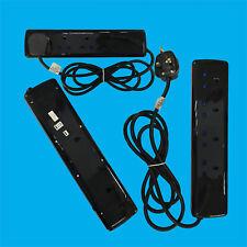 Glossy Black 4 Gang 2 Metre Multi-outlet Mains Extension Socket Lead 13A UK Plug