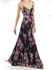 NICOLE MILLER NEW YORK Pleated Black Multi Color Floral Gown NM61187 Sz 6 NWT