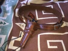 CUSTOM WESTERN GUN BELT AND HOLSTER HAND TOOLED COWBOY ACTION