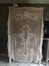 couvre lit fait main, filet d'art, ancien