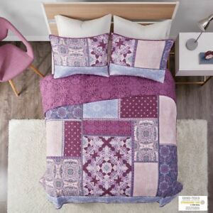 Luxury Purple Patchwork Design Reversible Quilted Coverlet AND Decorative Shams