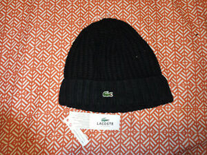(H22) LaCoste Stretch Knit Cap, One Size, NWT MSRP $40, Black