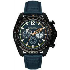 Nautica Uomo NMX 1500 NAI22507G Crono Pelle Blu Brunito Nero Arancio Data Watch
