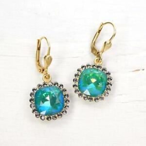 La Vie Parisienne Catherine Popesco Stone Border Crystal Drop Earrings Mermaid
