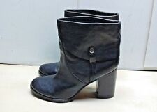 Franco Sarto Occela Women Black Leather Pull On Block Heel Ankle Boots Shoes 11M