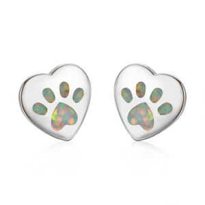 Fashion Love Heart Silver Filled White simulated Opal Ear Stud Earring Gift