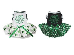 Happy St Patrick's Day White Cotton Top Clover Tutu Pet Dog Puppy Dress