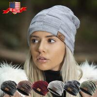 Slouch Baggy Beanie Sherpa Fleece Lined Unisex Ski Hat Knit Winter Skully