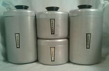 4 vintage Kromex Aluminum Tin Kitchen Canister Set Sugar Flour Coffee Tea Rare