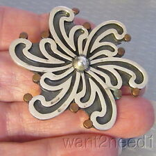 MCM 60s vtg MEXICO 925 STERLING PIN PENDANT modernist carved silver swirl 19g